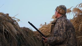 Amateur hunting in the fall for ducks. stock footage