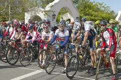 Amateur Men Bicyclists. Competing in the Garrett Lemire Memorial Grand Prix National Racing Circuit (NRC) on April 10, 2005 in Ojai, CA Royalty Free Stock Images