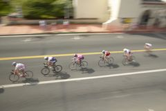 Amateur Men Bicyclists competing in the Garrett Lemire Memorial Grand Prix National Racing Circuit (NRC) on April 10, 2005 in Ojai Stock Image