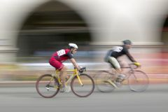 Amateur Men Bicyclists competing in the Garrett Lemire Memorial Grand Prix National Racing Circuit (NRC) on April 10, 2005 in Ojai Royalty Free Stock Photography