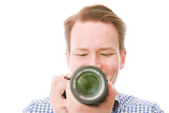 Amateur photographer. Framing you using his camera screen - isolated on white stock image
