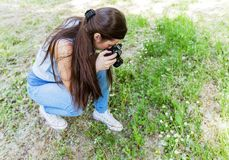 Amateur Photographer Nature. Young woman making picture of plant with vintage camera, female amateur photographer taking photo in nature royalty free stock photography