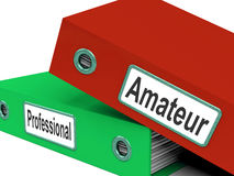 Amateur Professional Folders Mean Beginner Stock Image