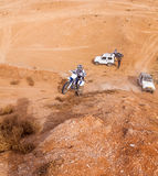 Amateur race in the desert, summer day. Royalty Free Stock Images