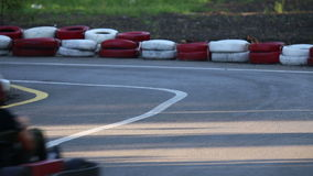 Amateur racing karting, leisure park visitors stock video footage