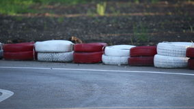Amateur racing karting, leisure park visitors stock video