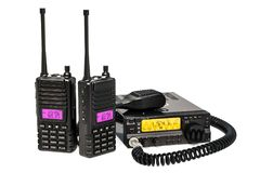 Amateur radio transceiver with push-to-talk microphone switch an. D portable radios walkie-talkie, 3D royalty free stock photos