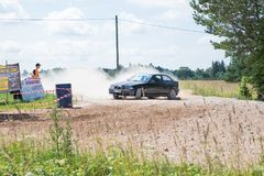Amateur rally, dirt road, car with rider. Latvia 2018 royalty free stock photo