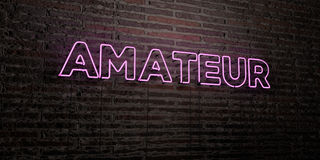 AMATEUR -Realistic Neon Sign on Brick Wall background - 3D rendered royalty free stock image Stock Photo