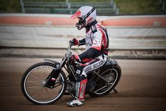 Amateur speedway racer during training in Liberec Czech Republic. Amateur polish speedway racer during training in Liberec city of north Czech Republic, Europe royalty free stock image