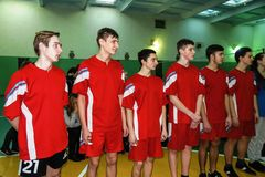 Amateur sports competitions in volleyball, the sports organizations and the Russian Orthodox Church in Gomel region of Belarus. Belarus has close integration stock image