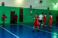 Amateur sports competitions in volleyball, the sports organizations and the Russian Orthodox Church in Gomel region of Belarus. Belarus has close integration royalty free stock images