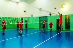 Amateur sports competitions in volleyball, the sports organizations and the Russian Orthodox Church in Gomel region of Belarus. Belarus has close integration royalty free stock image