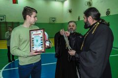 Amateur sports competitions in volleyball, the sports organizations and the Russian Orthodox Church in Gomel region of Belarus. Belarus has close integration stock photo