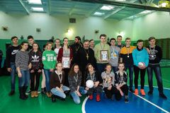 Amateur sports competitions in volleyball, the sports organizations and the Russian Orthodox Church in Gomel region of Belarus. royalty free stock images