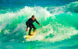 Amateur surfing at the Larvotto in Monaco Stock Photo