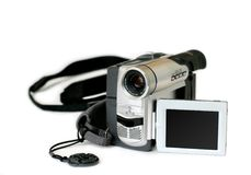 Amateur video camera. With revolving display on white background royalty free stock photo