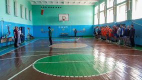 Amateur volleyball competition in the Gomel region of Belarus. In Belarus much attention is paid to development of sport. As a rule, in all schools and other royalty free stock photo