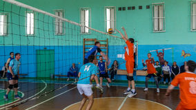 Amateur volleyball competition in the Gomel region of Belarus. stock image