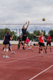 Amateur volleyball competition. Amateur volleyball on the sports courts differ in the intensity of emotions and emotions and are often held among the youth royalty free stock photography