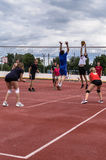 Amateur volleyball competition. Amateur volleyball on the sports courts differ in the intensity of emotions and emotions and are often held among the youth royalty free stock photo