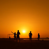 Amateurs playing football at Jumeira beach in Dubai Royalty Free Stock Images