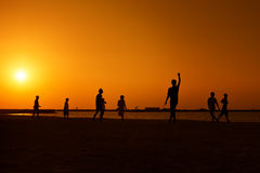 Amateurs playing football at Jumeira beach in Dubai Royalty Free Stock Photography