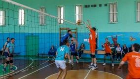 Amateurvolleyballwettbewerb in der Gomel-Region von Weißrussland Stockbild