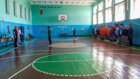 Amateurvolleyballwettbewerb in der Gomel-Region von Weißrussland Lizenzfreies Stockfoto