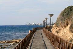 Amathus海边人行道在利马索尔,塞浦路斯 库存图片