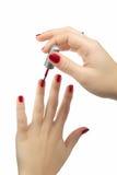 Amatorski czerwony gwoździa połysk obraz royalty free
