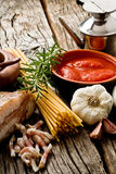 Amatriciana ingredients Royalty Free Stock Images