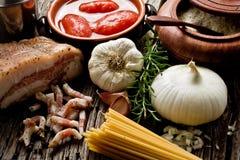 Amatriciana ingredients Stock Photos