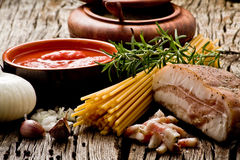 Amatriciana ingredients Royalty Free Stock Photography