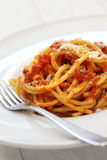 Amatriciana, italian pasta cuisine Royalty Free Stock Photos