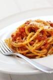 Amatriciana, italian pasta cuisine Royalty Free Stock Photos