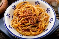 Amatriciana italiano de las pastas Imagen de archivo