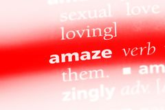 Amaze. Word in a dictionary.  concept stock photos