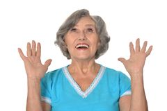 Amaze elderly woman Stock Image