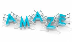 Amaze Surprise Letters Word Insects Bugs Walking. 3d Illustration Stock Photos
