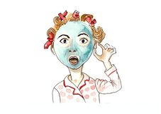 Amaze woman mask vector illustration
