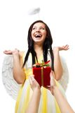 Amazed angel with wings and nimbus Royalty Free Stock Photo