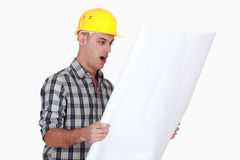 An amazed architect. Royalty Free Stock Image