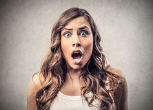 Amazed astonished woman Royalty Free Stock Photography