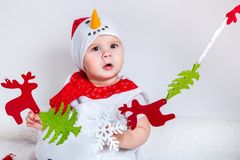 Amazed attractive baby girl in Christmas costume having fun . Close-up portrait little girl in snowman costume Stock Photography