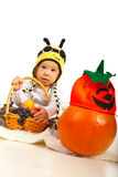 Amazed baby in bee hat Stock Photos