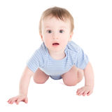 Amazed baby boy toddler isolated on white Royalty Free Stock Photos