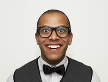 Amazed brainy man. A mixed race man looking joyfully expectant or amazed Royalty Free Stock Photography