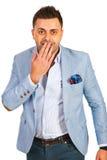 Amazed business man. Isolated on white background Stock Images