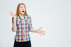 Amazed casual woman Royalty Free Stock Photo